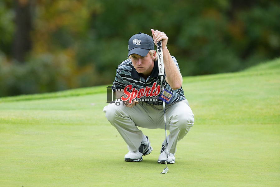 Andrew Winters of the Wake Forest Demon Deacons reads the green at the Primland Collegiate Invitational at the Primland Resort on September 29, 2014 in Meadows of Dan, Virginia.  (Brian Westerholt/Sports On Film)