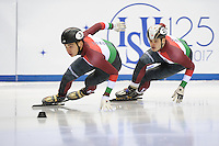 SHORT TRACK: TORINO: 14-01-2017, Palavela, ISU European Short Track Speed Skating Championships, Quarterfinals 500m Men, Shaolin Sandor Liu (HUN), Viktor Knoch (HUN), ©photo Martin de Jong