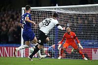 David Nugent of Derby hits the post in the dying moments of the game and the ball rebounds into the arms of Chelsea's Willy Caballero during Chelsea vs Derby County, Caraboa Cup Football at Stamford Bridge on 31st October 2018