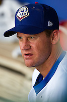 Texas Rangers pitcher Roy Oswalt #51 in the dugout before his rehab assignment with the Round Rock Express during the Pacific Coast League baseball game against the Albuquerque Isotopes on June 2, 2012 at The Dell Diamond in Round Rock, Texas. (Andrew Woolley/Four Seam Images)