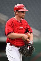 Springfield Cardinals coach Packy Elkins (46) during practice before a game against the Frisco Rough Riders on June 1, 2014 at Hammons Field in Springfield, Missouri.  Springfield defeated Frisco 3-2.  (Mike Janes/Four Seam Images)