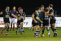 Dan Mugford of Nottingham Rugby (2nd right) celebrates scoring a last minute drop kick to win the game during the Greene King IPA Championship match between London Scottish Football Club and Nottingham Rugby at Richmond Athletic Ground, Richmond, United Kingdom on 16 October 2015. Photo by David Horn.