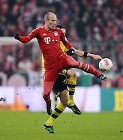 FUSSBALL  DFB-POKAL  VIERTELFINALE  SAISON 2012/2013    FC Bayern Muenchen - Borussia Dortmund          27.02.2013 Arjen Robben (FC Bayern Muenchen)  Einzelaktion am Ball