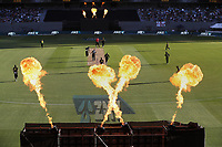 Flames and big crowd  during the Black Caps v Australia international T20 cricket match at Eden Park in Auckland, New Zealand. 16 February 2018. Copyright Image: Peter Meecham / www.photosport.nz
