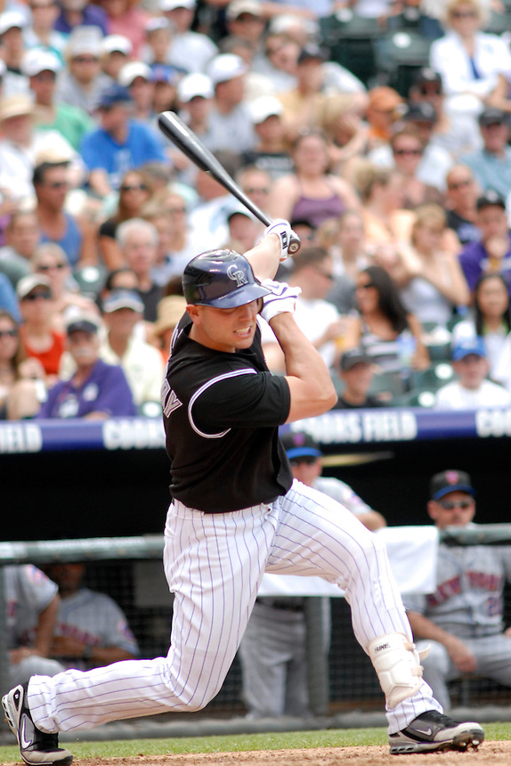 22 June 2008: Colorado Rockies outfielder Matt Holliday puts a ball in play against the New York Mets. The Mets defeated the Rockies 3-1 at Coors Field in Denver, Colorado on June 22, 2008. FOR EDITORIAL USE ONLY. FOR EDITORIAL USE ONLY