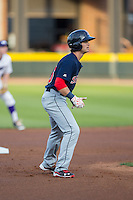 Andrew Benintendi (16) of the Salem Red Sox takes his lead off of second base against the Winston-Salem Dash at BB&T Ballpark on April 15, 2016 in Winston-Salem, North Carolina.  The Red Sox defeated the Dash 3-2.  (Brian Westerholt/Four Seam Images)