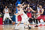 Real Madrid's Luka Doncic and FC Barcelona Lassa's Ante Tomic during Turkish Airlines Euroleague match between Real Madrid and FC Barcelona Lassa at Wizink Center in Madrid, Spain. March 22, 2017. (ALTERPHOTOS/BorjaB.Hojas)