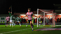 Lincoln City's Mark O'Hara celebrates scoring the opening goal<br /> <br /> Photographer Chris Vaughan/CameraSport<br /> <br /> The EFL Sky Bet League Two - Lincoln City v Yeovil Town - Friday 8th March 2019 - Sincil Bank - Lincoln<br /> <br /> World Copyright © 2019 CameraSport. All rights reserved. 43 Linden Ave. Countesthorpe. Leicester. England. LE8 5PG - Tel: +44 (0) 116 277 4147 - admin@camerasport.com - www.camerasport.com