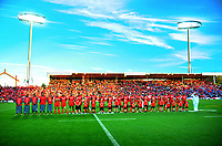 The Tonga team line up for the national anthem before 2017 Rugby League World Cup match between the Toa Samoa and Mate Ma'a Tonga at the FMG Stadium in Hamilton, New Zealand on Saturday, 4 November 2017. Photo: Dave Lintott / lintottphoto.co.nz