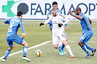Getafe's  Emiliano Daniel Velazquez (l), Juan Rodriguez (b) and Naldo Gomes (r) and Real Madrid's Karim Benzema during La Liga match.January 18,2013. (ALTERPHOTOS/Acero) /NortePhoto<br /> NortePhoto.com
