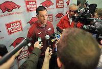 NWA Democrat-Gazette/Michael Woods --02/04/2015--w@NWAMICHAELW... New University of Arkansas offensive coordinator Dan Enos speaks to reporters during a press conference Wednesday afternoon at Fred W. Smith Center in Fayetteville.