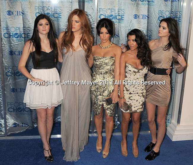 LOS ANGELES, CA. - January 05: Kylie Jenner, Khloe Kardashian, Kim Kardashian, Kourtney Kardashian and Kendall Jenner arrive at the 2011 People's Choice Awards at Nokia Theatre L.A. Live on January 5, 2011 in Los Angeles, California.