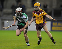 24th October 2013;  Aidan Roche, Lucan Sarsfields, in action against Damian O'Reilly, Craobh Chiarain. Dublin County Senior Hurling Championship Semi-Final, Craobh Chiarain v Lucan Sarsfields, Parnell Park, Dublin. Picture credit: Tommy Grealy / actionshots.ie