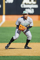 Brandon Romero (15) of the Marshall Thundering Herd takes ground balls prior to the game against the Georgetown Hoyas at Wake Forest Baseball Park on February 15, 2014 in Winston-Salem, North Carolina.  The Thundering Herd defeated the Hoyas 5-1.  (Brian Westerholt/Four Seam Images)