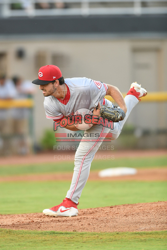 Greeneville Reds relief pitcher Patrick Raby (53) in action during a game against the Bristol Pirates at Boyce Cox Field on July 31, 2019 in Bristol, Virginia. The Pirates defeated the Reds 13-3. (Tracy Proffitt/Four Seam Images)