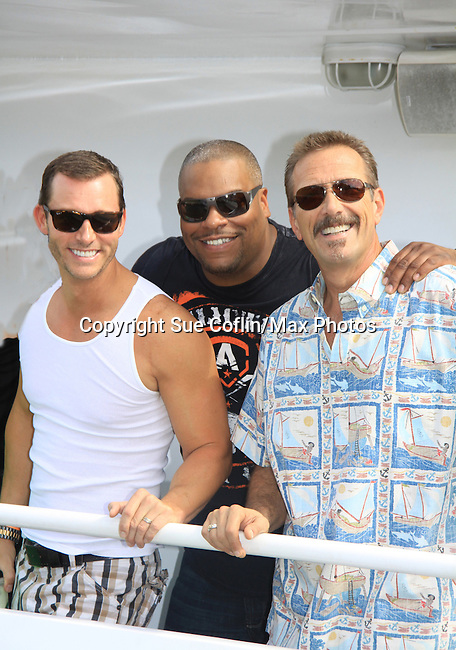 All My Children Walt Willey, Days of Our Lives Eric Martsolf and One Life To Live Sean Ringgold at SoapFest's Celebrity Weekend - Cruisin' and Schmoozin' on the Marco Island Princess - mix and mingle and watching dolphins - autographs, photos, live auction raising money for kids on November 11, 2012 Marco Island, Florida. (Photo by Sue Coflin/Max Photos)