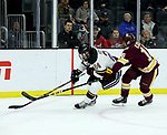 SIOUX FALLS, SD - MARCH 23: Billy Exell #16 from Minnesota Duluth battles for the puck with Edwin Hookenson #24 from Mankato during their game at the 2018 West Region Men's NCAA DI Hockey Tournament at the Denny Sanford Premier Center in Sioux Falls, SD. (Photo by Dave Eggen/Inertia)