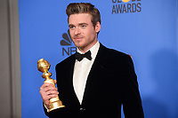 After winning the category of BEST PERFORMANCE BY AN ACTOR IN A TELEVISION SERIES &ndash; DRAMA for his role in &quot;Bodyguard,&quot; actor Richard Madden poses backstage in the press room with his Golden Globe Award at the 76th Annual Golden Globe Awards at the Beverly Hilton in Beverly Hills, CA on Sunday, January 6, 2019.<br /> *Editorial Use Only*<br /> CAP/PLF/HFPA<br /> Image supplied by Capital Pictures