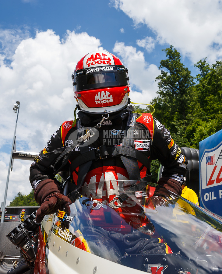 Jun 17, 2017; Bristol, TN, USA; NHRA top fuel driver Doug Kalitta during qualifying for the Thunder Valley Nationals at Bristol Dragway. Mandatory Credit: Mark J. Rebilas-USA TODAY Sports