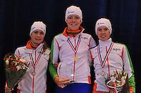 SHORTTRACK: AMSTERDAM: 05-01-2014, Jaap Edenbaan, NK Shorttrack, eindklassement Dames, Yara van Kerkhof, Jorien ter Mors, Rianne de Vries, ©foto Martin de Jong