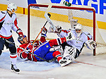 13 December 2008: Washington Capitals' goaltender Simeon Varlamov from Russia is knocked over by a falling Alexei Kovalev (27) knocking the net off its moorings in the second period at the Bell Centre in Montreal, Quebec, Canada. ***** Editorial Sales Only ***** Mandatory Photo Credit: Ed Wolfstein Photo