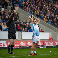 24th November 2019; AJ Bell Stadium, Salford, Lancashire, England; European Champions Cup Rugby, Sale Sharks versus La Rochelle; Akker van der Merwe takes the line out for Sale Sharks  - Editorial Use