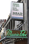 Theatre Marquee: 'Dead Accounts' starring Norbert Leo Butz and Katie Holmes. Written by Theresa Rebeck and Directed by Jack O'Brien at the Music Box Theatre on October 17, 2012 in New York City.