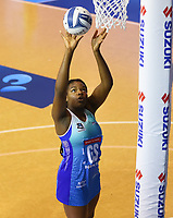 Grace Nweke shoots for goal during the ANZ Championship netball match between Northern Mystics and Central Pulse at the Auckland Netball Centre in Auckland, New Zealand on Saturday 18 July 2020. Photo: Simon Watts / bwmedia.co.nz