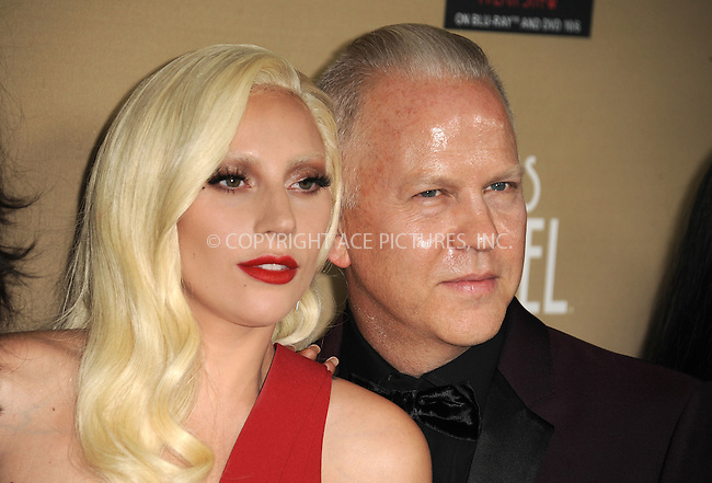 WWW.ACEPIXS.COM<br /> <br /> October 3 2015, LA<br /> <br /> Actress/singer Lady Gaga and Ryan Murphy arriving at the premiere of FX's 'American Horror Story: Hotel' at the Regal Cinemas L.A. Live on October 3, 2015 in Los Angeles, California.<br /> <br /> <br /> By Line: Peter West/ACE Pictures<br /> <br /> <br /> ACE Pictures, Inc.<br /> tel: 646 769 0430<br /> Email: info@acepixs.com<br /> www.acepixs.com