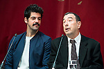 Miguel Angel Mu&ntilde;oz and Jose Luis Garci during the presentation of the new production of the Spanish Theater &quot;Arte Nuevo&quot;  at spanish theater in Madrid, February 16, 2016<br /> (ALTERPHOTOS/BorjaB.Hojas)