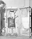 November 1964 The trunk containing Israeli spy Mordechai Louk disguised in a diplomatic bag  at Rome airport bound for Cairo