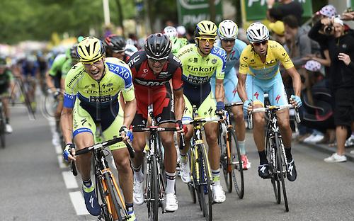 11.07.2014. Eperney to nancy, France. Tour de France cycling tour.  ROCHE Nicolas of Tinkoff-Saxo - VAN AVERMAET Greg BEL of BMC Racing Team - CONTADOR Alberto ESP of Tinkoff-Saxo - NIBALI Vincenzo ITA of Astana Pro Team