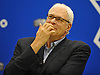 Phil Jackson, President of the New York Knicks, ponders his response to a reporter's question during a team news conference at Madsion Square Garden Training Center in Greenburgh, NY on Friday, July 8, 2016.