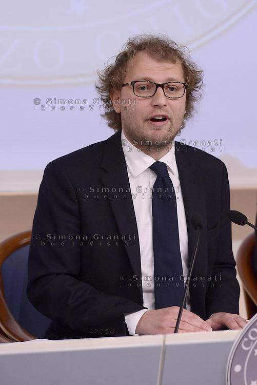 Roma, 17 Aprile 2015.<br /> Luca Lotti .<br /> Conferenza stampa a Palazzo Chigi per presentare le iniziative in occasione del 70&deg;anniversario della guerra di Liberazione dal nazifascismo.