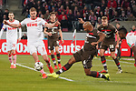 08.02.2019, RheinEnergieStadion, Koeln, GER, 2. FBL, 1.FC Koeln vs. FC St. Pauli,<br />  <br /> DFL regulations prohibit any use of photographs as image sequences and/or quasi-video<br /> <br /> im Bild / picture shows: <br /> Simon Terodde (FC Koeln #9), im Zweikampf gegen  Christopher Avevor (St Pauli #6), <br /> <br /> Foto © nordphoto / Meuter