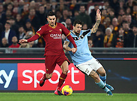 Football, Serie A: AS Roma - S.S. Lazio, Olympic stadium, Rome, January 26, 2020. Roma's Lorenzo Pellegrini<br /> (l) in action with Lazio's Francesco Acerbi (r) during the Italian Serie A football match between Roma and Lazio at Olympic stadium in Rome, on January,  26, 2020. <br /> UPDATE IMAGES PRESS/Isabella Bonotto