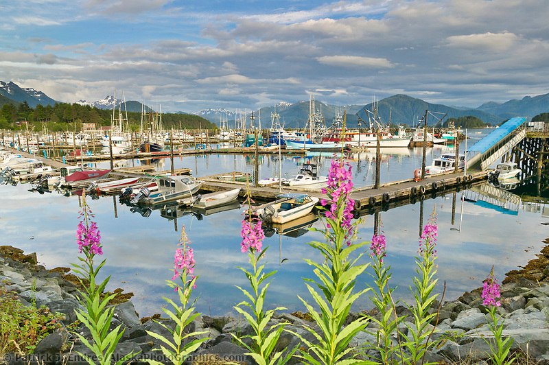 Commercial fishing boats in Crescent Harbor in the small, coastal town of Sitka, Alaska