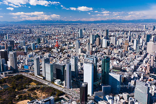 Aerial View of Shiodome District taken on February 9th, 2012. Shiodome is known as a business district in Tokyo, Japan. (Photo by Masanori Yamanashi/AFLO)