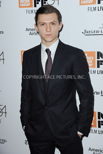 www.acepixs.com<br /> October 15, 2016  New York City<br /> <br /> Tom Holland arriving to the 54th New York Film Festival  'The Lost City of Z' premiere on October 15, 2016 in New York City.<br /> <br /> <br /> Credit: Kristin Callahan/ACE Pictures<br /> <br /> <br /> Tel: 646 769 0430<br /> Email: info@acepixs.com