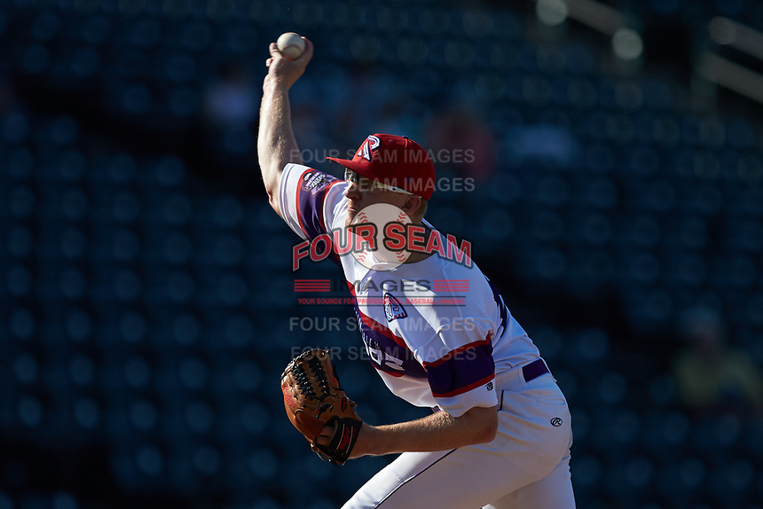 Winston-Salem Rayados relief pitcher Jake Elliott (34) in action against the Lynchburg Hillcats at BB&T Ballpark on June 23, 2019 in Winston-Salem, North Carolina. The Hillcats defeated the Rayados 12-9 in 11 innings. (Brian Westerholt/Four Seam Images)