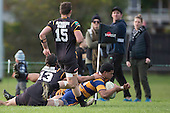 Violeti Taulani dives past Joshua Stol to score near the corner flag. Counties Manukau Premier Club Rugby game between Patumahoe & Bombay, played at Patumahoe on Saturday June 18th 2016. Patumahoe won the game 27 - 15 after leading 9 - 3 at halftime. Photo by Richard Spranger.