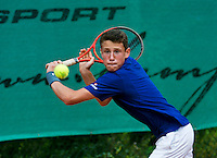 August 4, 2014, Netherlands, Dordrecht, TC Dash 35, Tennis, National Junior Championships, NJK,  Senne Shaw (NED)<br /> Photo: Tennisimages/Henk Koster
