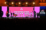 Team Katusha Alpecin on stage at the Teams Presentation held in Piazza Maggiore Bologna before the start of the 2019 Giro d'Italia, Bologna, Italy. 9th May 2019.<br /> Picture: Massimo Paolone/LaPresse | Cyclefile<br /> <br /> All photos usage must carry mandatory copyright credit (&copy; Cyclefile | Massimo Paolone/LaPresse)