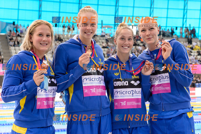 SWEDEN SWE Bronze Medal <br /> SJOESTROEM Sarah MARKO-VARGA Ida <br /> LINDBORG Ida HANSSON Louise <br /> Women 4x100m Freestyle Relay Final <br /> London, Queen Elizabeth II Olympic Park Pool <br /> LEN 2016 European Aquatics Elite Championships <br /> Diving  <br /> Day 08 16-05-2016<br /> Photo Andrea Staccioli/Deepbluemedia/Insidefoto