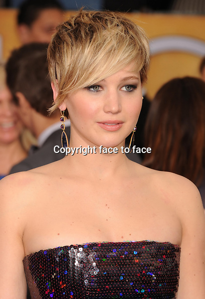 LOS ANGELES, CA- JANUARY 18: Actress Jennifer Lawrence arrives at the 20th Annual Screen Actors Guild Awards at The Shrine Auditorium on January 18, 2014 in Los Angeles, California.<br />