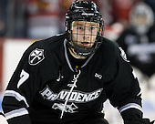 """Drew Brown (PC - 7).  The Friars are wearing a """"DG"""" patch on the front of their sweaters to honor Dave Gavitt, a former Athletic Director at Providence who helped found the Big East Conference as well as numerous other accomplishments related to basketball. - The Boston University Terriers defeated the visiting Providence College Friars 6-1 on Friday, January 20, 2012, at Agganis Arena in Boston, Massachusetts."""