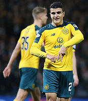 2nd November 2019; Hampden Park, Glasgow, Scotland; Scottish League Cup Football, Hibernian versus Celtic; Mohamed Elyounoussi of Celtic makes a sign with his hands after scoring in the 44th minute to make it 3-1 - Editorial Use