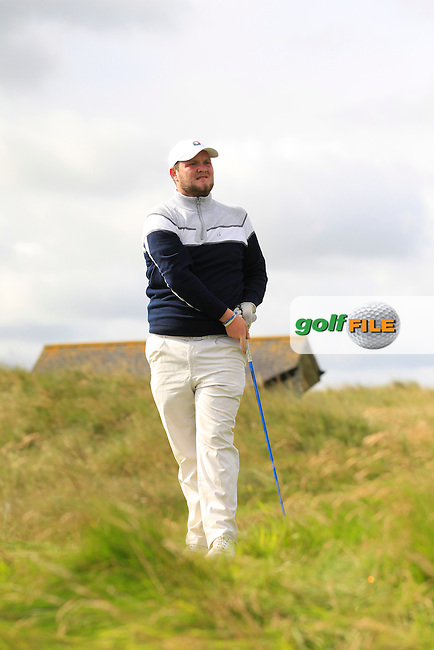 Cian Geraghty (Laytown &amp; Bettystown) on the 10th tee during Round 2 of The South of Ireland in Lahinch Golf Club on Sunday 27th July 2014.<br /> Picture:  Thos Caffrey / www.golffile.ie