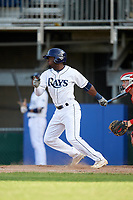 Princeton Rays left fielder Tony Pena (7) hits a single during the first game of a doubleheader against the Johnson City Cardinals on August 17, 2018 at Hunnicutt Field in Princeton, Virginia.  Johnson City defeated Princeton 6-4.  (Mike Janes/Four Seam Images)