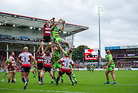 Northampton Saints' Michael Paterson claims the lineout from Gloucester Rugby's Jeremy Thrush <br /> <br /> Photographer Ashley Western/CameraSport<br /> <br /> Aviva Premiership - Gloucester v Northampton Saints - Saturday 7th October 2017 - Kingsholm Stadium - Gloucester<br /> <br /> World Copyright &copy; 2017 CameraSport. All rights reserved. 43 Linden Ave. Countesthorpe. Leicester. England. LE8 5PG - Tel: +44 (0) 116 277 4147 - admin@camerasport.com - www.camerasport.com